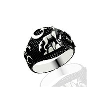 Wolf with crescent star sterling silver blacked mens ring