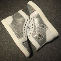 DCCK2 Cl Christian Louboutin Rhinestone Style #1939 Sneakers Fashion Shoes