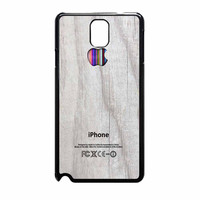 Apple Logo On White Wood Colorful Samsung Galaxy Note 3 Case