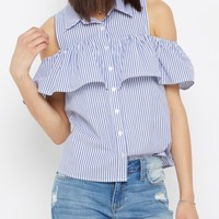Ruffled Cold Shoulder Button Down Shirt   Blouses   rue21