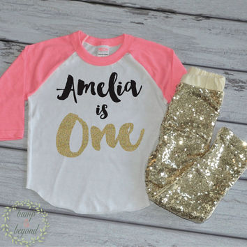 1st Birthday Shirt Personalized First Birthday Shirt and Sequin Pants Baby Girl 1st Birthday Shirt Custom Name Shirt and Pants 091