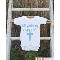 Will You Be My Godparents Outfit - Infant Baby Boy Bodysuit - Godparents Newborn Onepiece - Godchild & Godparent Keepsake w/ Blue Cross