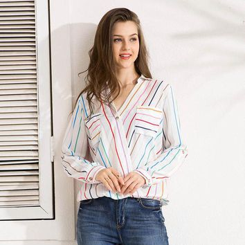 Colorful Striped Blouse Shirt