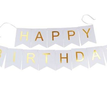 Gold and White Happy Birthday Banner Bunting Garland Party Decoration Gold Foil