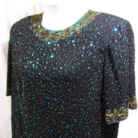 Evening Top, Black, Turquoise Sequins, Gold Beads,  Special Occasion, Party Cocktail, Plus Size 2X, Resort Cruise Wear