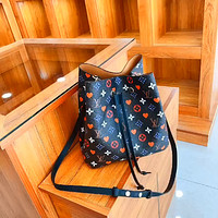 LV color letter printing women's bucket bag shoulder bag