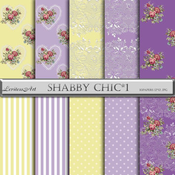 """Shabby Chic Digital Paper:"""" Shabby сhic*1"""" with roses,lace, hearts, stripes,polkadot in lilac,yellow for wedding invites,cards,design"""