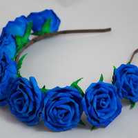 The blue rose  hair band foam wreath gift for girl and woman floral boho wedding couronne fleur accessory for a photo shoot rustic bride