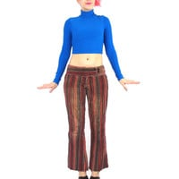 90s  Flared Pants Striped Corduroy Bell Bottoms Velvet Cords Pinstripe Low Rise Waist Pants Hippie Boho Red Black 70s Style Trousers (XS/S)