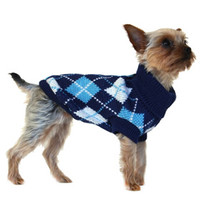 Blue Argyle Sweater | Image 3 | Chihuahua Clothes and Accessories at the Famous Chihuahua Store!