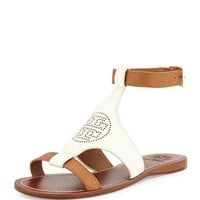Perforated Logo Leather Sandal, Ivory/Royal Tan - Tory Burch