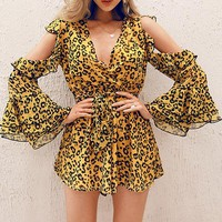 Cold Shoulder Wrap Chiffon Women Playsuits Casual Bow Sexy Short Rompers Playsuit Romper