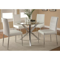 Coaster Vance Contemporary 5-Piece White Glass Top Round Dining Table and Chair Set Chrome Legs - Sears