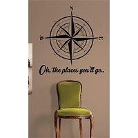 Compass Rose Oh The Places Youll Go Nautical Decal Sticker Wall Vinyl Art