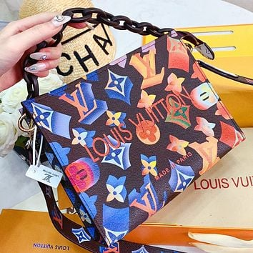 LV New fashion multicolor monogram print leather shoulder bag handbag cosmetic bag crossbody bag