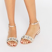 Lost Ink Jewel Detail Flat Sandals