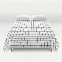 Geometric Black and White Grid Print Duvet Cover by Poindexterity