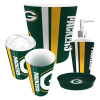 Green Bay Packers NFL Complete Bathroom Accessories 5pc Set