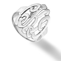 Designer Personalized Initials Ring - Sterling Silver (Choose Your Initials)