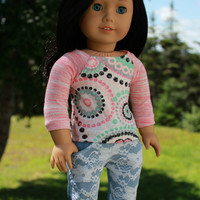 18 inch doll clothes, long sleeve shirt with circles and sequins, denim skinny jeans with front lace overlay, american girl ,maplelea