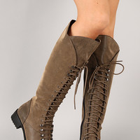 Soda Water-S Distressed Military Lace Up Knee High Boot