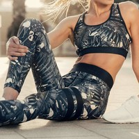 Breathable Printed Leggings Workout Activewear Fitness Pants Trousers