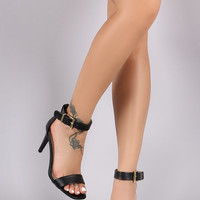 Qupid One Band Ankle Strap Single Sole Heel
