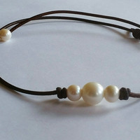 Original Seasidepearls30A  3 Pearl and Leather Choker! #1 on Amazon. Quality Guaranteed.