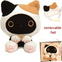 San-X Kutusita Nyanko Cats Café Large Boots in Removable Costume: Calico