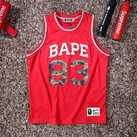 BAPE AAPE Summer Fashion Men Women Casual Print Basketball Sport Vest Top Red