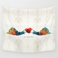 Snail Art - Love Grows Here - By Sharon Cummings Wall Tapestry by Sharon Cummings