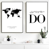 Black White World Map Quotes Salon Wall Art Canvas Painting Nordic Posters And Prints Wall Pictures For Living Room Home Decor