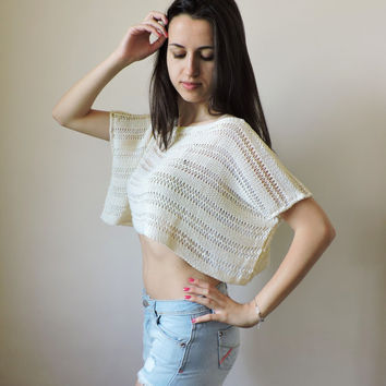 FREE SHIPPING Pure cotton crop top Ivory knit blouse Boho lace top Knit womens cropped tank Spring Summer tank Short sleeve cropped blouse