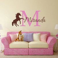 Horse Wall Decal, Personalized Horse Decal, Horse Decor, Nursery Name Decal, Horse Nursery, Horse Name Decal