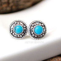 Sterling Silver Turquoise Earrings, Classic Tiny Circle Blue Dot Stud Earrings