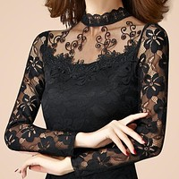 new sexy fashion women high quality lace long Sleeve Turtleneck Blouses female spring autumn pullover black white tops