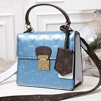 Samplefine2 LV Louis Vuitton Fashion new color matching printed patent leather shoulder Messenger bag