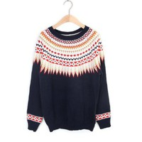 ZLYC Ethnic Style Scoop Neck Colorful Embellished Kniting Christmas Sweater For Women