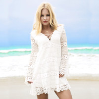 Fade Into You Lace Dress In White