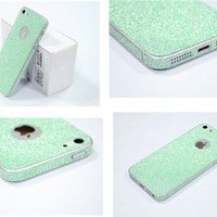TCD for Apple iPhone 5 5S Full Body [AQUA GREEN] Sparkling Glitter LIFETIME WARRANTY [SKIN STICKER] Adhesive - No Sticky Residue Stylish Decorative Skin with Built in Screen Protector