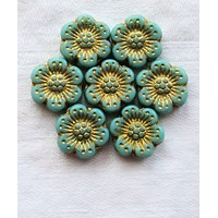 Twelve Czech glass wild rose flower beads - 14mm opaque turquoise blue floral beads with a gold wash C07105