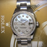 Rolex Datejust 31 Steel Diamond MOP Ladies Midsize Watch 6824