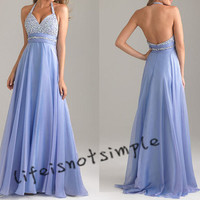 New light blue long prom dress, evening dress, party dress, homecoming dress custom color custom size