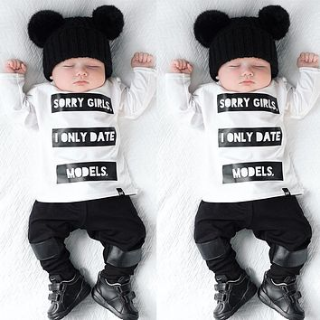 2pcs Infant Baby Kids Boys Long Sleeve T shirt Tops Pants Newborn Outfits Black white Sorry Girls Letter Suit baby boy clothes