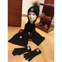 Moncler women's fashion trend winter knit warm hat scarf suit scarf big scarf hat glove suit