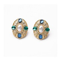 Pearl Center Clip-On Earring Studs