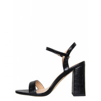 Maddie Black Croc Barely There Mid Block Heels : Simmi Shoes
