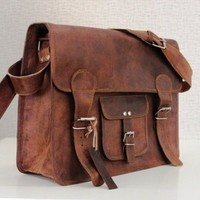 18x13x6 Leather Messenger Bag - Retro Vintage Style