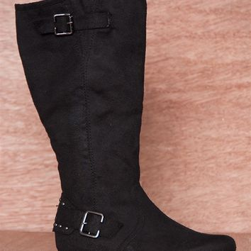 National Fashion Imports Out And About Studded Heel Faux Suede Mid Calf Boots 5820-N - Black
