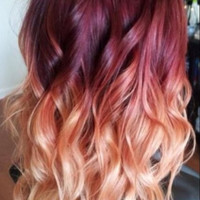 """Red Violet Peach Ombre Hair, Auburn Ombre, Georgian Sunset Ombre Hair, Red Violet with a slow fade to Peach and Blonde,(7) Pieces, 18"""""""